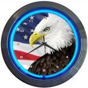 Neonetics 15'' Eagle w/ American Flag Neon Clock