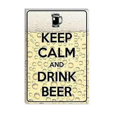 iCanvas Keep Calm and Drink Beer Graphic Art on Canvas; 26'' H x 18'' W x 1.5'' D