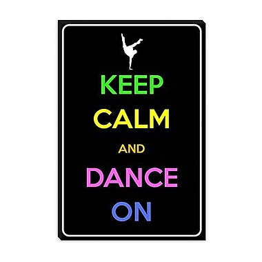 iCanvas Keep Calm and Dance on Graphic Art on Canvas; 18'' H x 12'' W x 0.75'' D