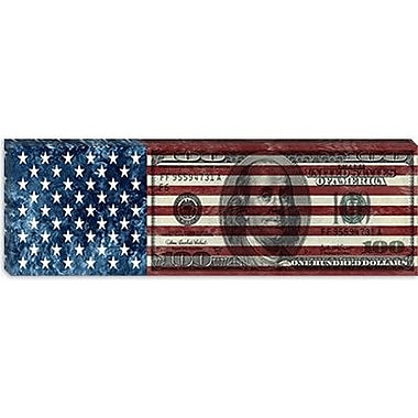 iCanvas USA Flag One Hundred Dollar Bill Graphic Art on Canvas; 12'' H x 36'' W x 0.75'' D