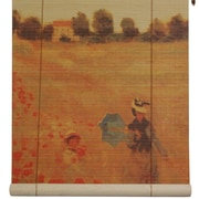 Oriental Furniture Poppies Bamboo Roller Blind; 60'' W x 72'' L