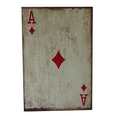 Cheungs Wooden Ace of Diamonds Graphic Art Plaque