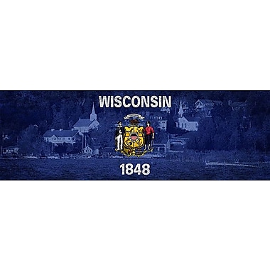 iCanvas Wisconsin Flag, Door County Panoramic Graphic Art on Canvas; 12'' H x 36'' W x 1.5'' D