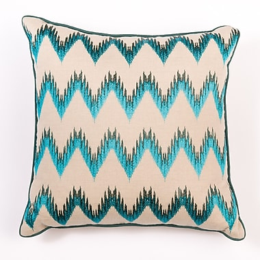 Filling Spaces Ikat and Suzani All Flame Stitch Linen Pillow Cover; Green