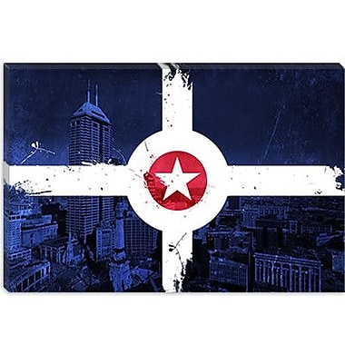 iCanvas Indianapolis Flag, City Skyline Graphic Art on Canvas; 12'' H x 18'' W x 0.75'' D