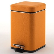 Gedy by Nameeks 1.41 Gallon Step-On Metal Trash Can; Faux Leather Orange