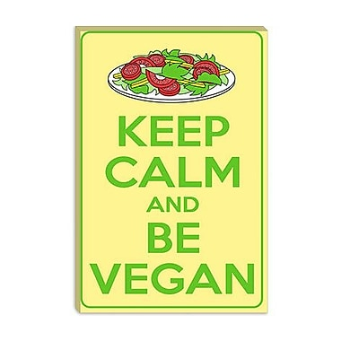 iCanvas Keep Calm and Be Vegan Graphic Art on Canvas; 26'' H x 18'' W x 1.5'' D