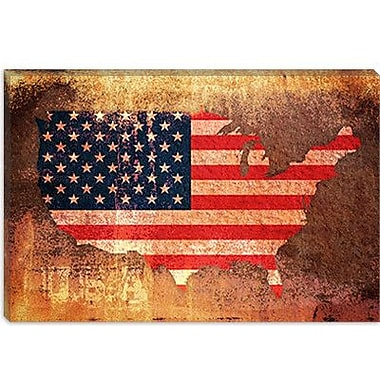 iCanvas 'U.S.A. Flag Map' by Michael Tompsett Graphic Art on Canvas; 12'' H x 18'' W x 1.5'' D