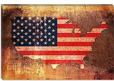 iCanvas 'U.S.A. Flag Map' by Michael Tompsett Graphic Art on Canvas; 26'' H x 40'' W x 1.5'' D