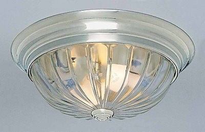 Volume Lighting 2-Light Ceiling Fixture Flush Mount; Brushed Nickel WYF078276775817