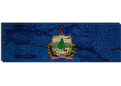 iCanvas Flags Vermont Map Panoramic Graphic Art on Wrapped Canvas; 12'' H x 36'' W x 0.75'' D
