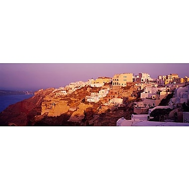 iCanvas Panoramic Town on a Cliff, Santorini, Greece Photographic Print on Wrapped Canvas