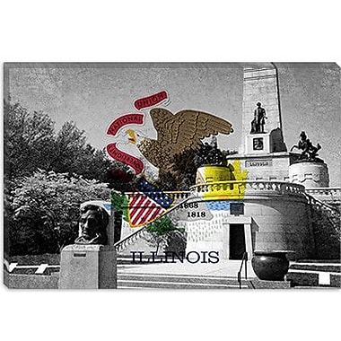 iCanvas Illinois Flag, Lincoln Tomb, Springfield Graphic Art on Canvas; 8'' H x 12'' W x 0.75'' D