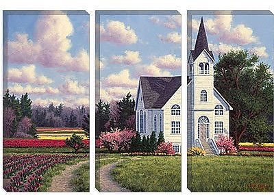iCanvas 'Conway Church 2' by Randy Van Beek Painting Print on Canvas; 26'' H x 40'' W x 0.75'' D