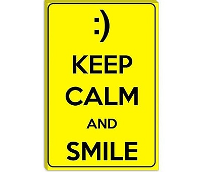 iCanvas Keep Calm and Smile Textual Art on Canvas; 26'' H x 18'' W x 0.75'' D