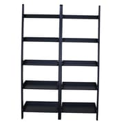 International Concepts 76'' Leaning Bookcase (Set of 2); Black