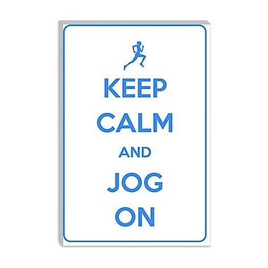 iCanvas Keep Calm and Jog on Graphic Art on Canvas; 18'' H x 12'' W x 1.5'' D