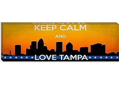 iCanvas Keep Calm and Love Tampa Vintage Advertisement on Canvas; 12'' H x 36'' W x 1.5'' D