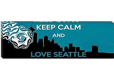iCanvas Keep Calm and Love Seattle Graphic Art on Canvas; 24'' H x 72'' W x 1.5'' D