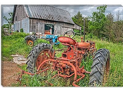 iCanvas 'Tractors in Weeds' by Bob Rouse Photographic Print on Wrapped Canvas