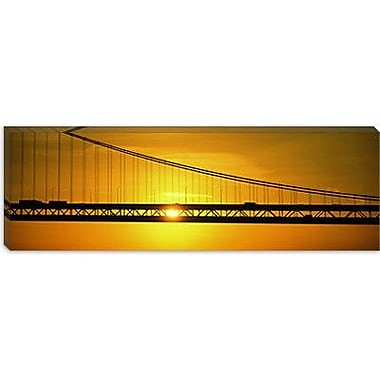 iCanvas Panoramic Sunrise Bay Bridge San Francisco, California Photographic Print on Wrapped Canvas