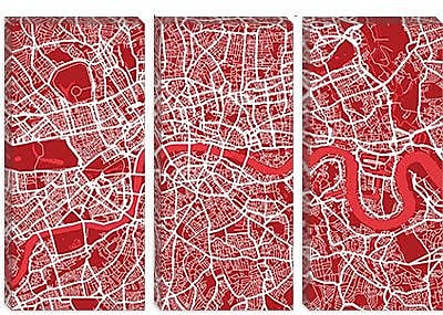 iCanvas 'London Map III' by Michael Thompsett Graphic Art on Canvas; 40'' H x 60'' W x 1.5'' D