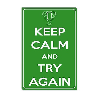 iCanvas Keep Calm and Try Again Graphic Art on Canvas; 18'' H x 12'' W x 1.5'' D