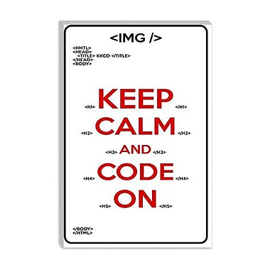 iCanvas Keep Calm and Code on Graphic Art on Canvas; 12'' H x 8'' W x 0.75'' D