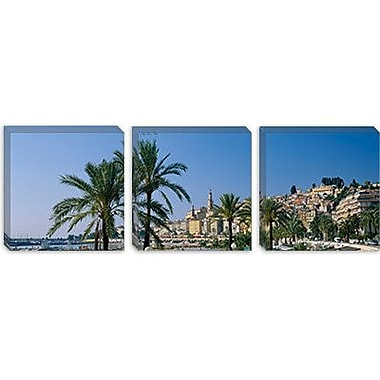 iCanvas Panoramic Building on the Waterfront, Menton, France Photographic Print on Canvas