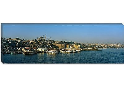 iCanvas Panoramic Boats Moored at a Harbor Istanbul, Turkey Photographic Print on Canvas