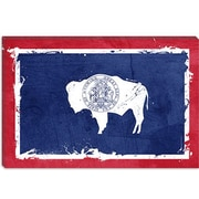 iCanvas Wyoming Flag, Grunge w/ Splatters Graphic Art on Canvas; 12'' H x 18'' W x 0.75'' D