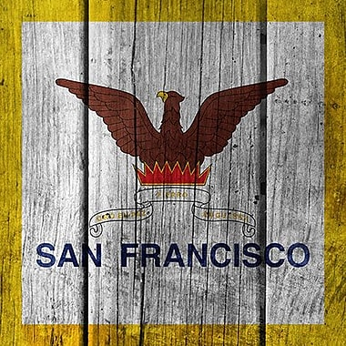iCanvas Flags San Francisco Wood Planks Graphic Art on Canvas; 12'' H x 12'' W x 0.75'' D