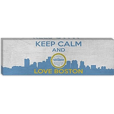iCanvas Keep Calm and Love Boston Graphic Art on Canvas; 30'' H x 90'' W x 1.5'' D