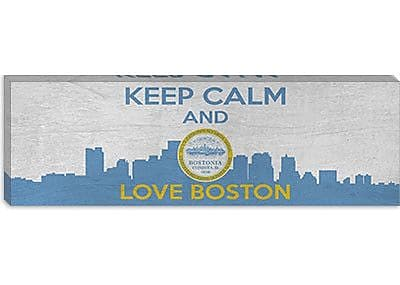 iCanvas Keep Calm and Love Boston Graphic Art on Canvas; 20'' H x 60'' W x 1.5'' D