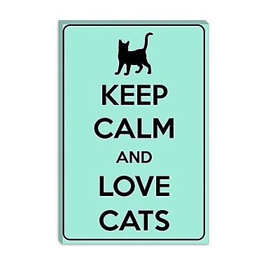 iCanvas Keep Calm and Love Cats Graphic Art on Canvas; 40'' H x 26'' W x 1.5'' D