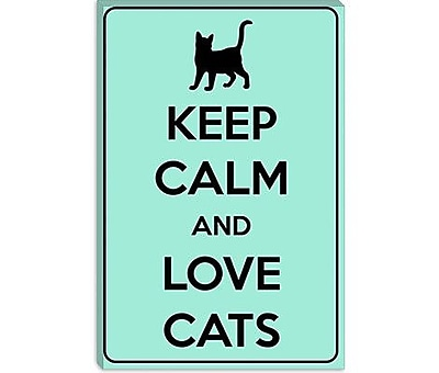 iCanvas Keep Calm and Love Cats Graphic Art on Canvas; 18'' H x 12'' W x 1.5'' D