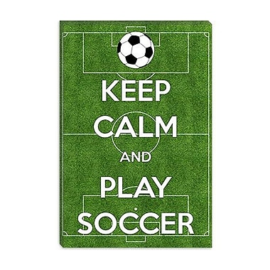 iCanvas Keep Calm and Play Soccer Graphic Art on Canvas; 40'' H x 26'' W x 0.75'' D