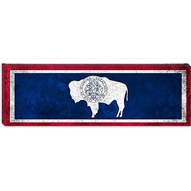 iCanvas Wyoming Flag, Grunge Panoramic Graphic Art on Canvas; 12'' H x 36'' W x 0.75'' D
