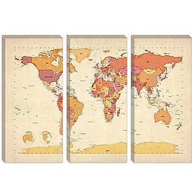 iCanvas 'Map of The World VII' by Michael Tompsett Graphic Art on Canvas; 26'' H x 40'' W x 0.75'' D