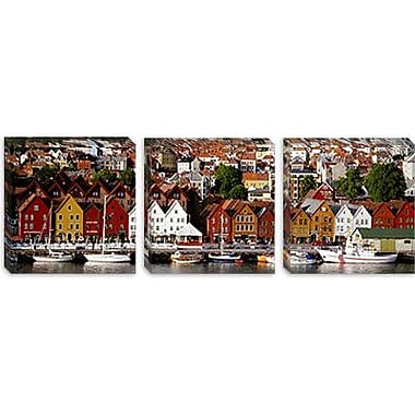 iCanvas Panoramic Bergen, Norway Photographic Print on Canvas; 30'' H x 90'' W x 1.5'' D