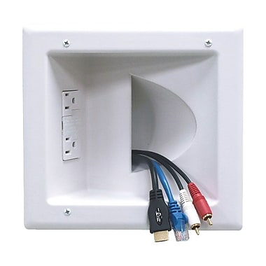 Peerless-AV® IBA5-W Recessed Low Voltage Media Plate With Duplex Surge Suppressor, White
