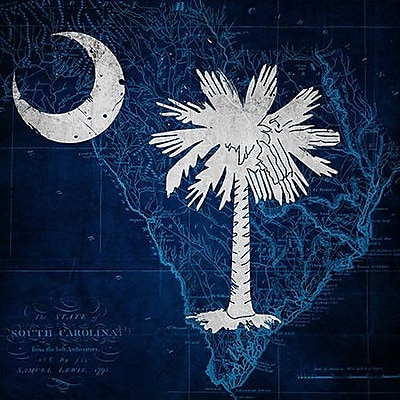 iCanvas Flags South Carolina Map Graphic Art on Wrapped Canvas; 18'' H x 18'' W x 1.5'' D