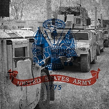 iCanvas Flags Army Humvee w/ Grunge Graphic Art on Wrapped Canvas; 26'' H x 26'' W x 1.5'' D