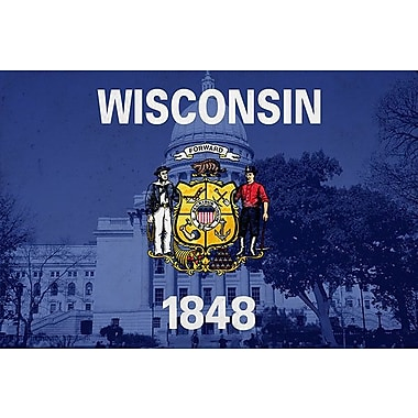iCanvas Wisconsin Flag, Wisconsin State Capitol Graphic Art on Wrapped Canvas