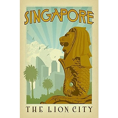 iCanvas 'The Lion City - Singapore' by Anderson Design Group Vintage Advertisement on Wrapped Canvas