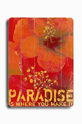 Artehouse LLC Paradise Planked Sign by Lisa Weedn Graphic Art Plaque