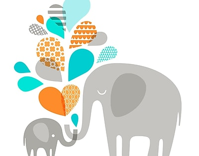 Evive Designs Elephant and Baby Paper Print