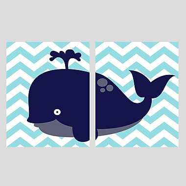 Evive Designs 2 Piece Whale Paper Print Set