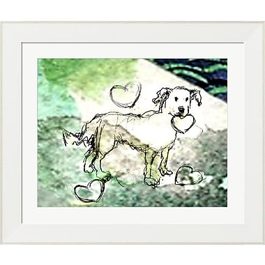 Evive Designs Dog w/ Hearts by Holly Mcgee Framed Painting Print