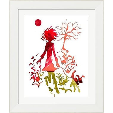 Evive Designs Girl and Dog Silhouette Framed Art